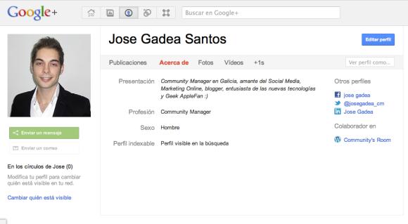 Ejemplo de Google Profiles