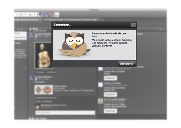 Imagen notificación de inactividad hootsuite