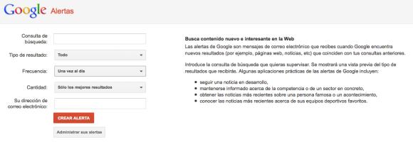 vista previa de la interfaz de google alert