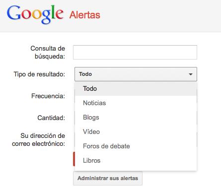vista previa menu de google alert