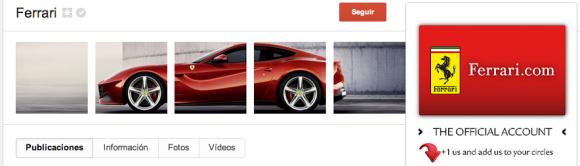 Google Plus de Ferrari
