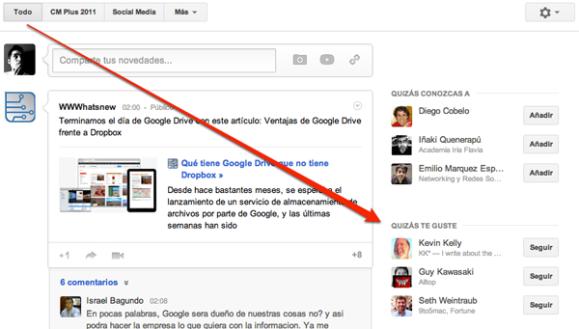 Recomendaciones en Google Plus