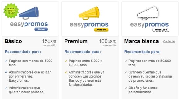 plan de precios en easypromos