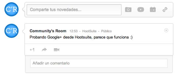 Mensaje desde HootSuite a Google+