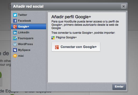 Vincular Google+ a HootSuite