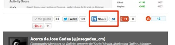 Botón LinkedIn en el Blog