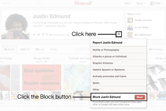 Opciones de denuncia de usuario en Pinterest