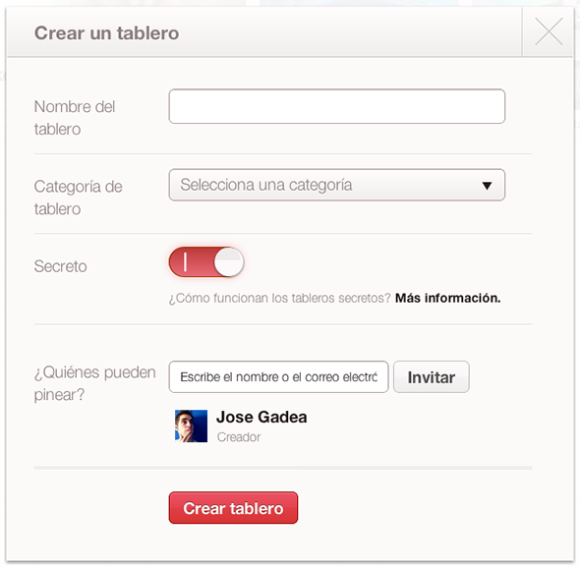 Crear un tablón secreto de Pinterest